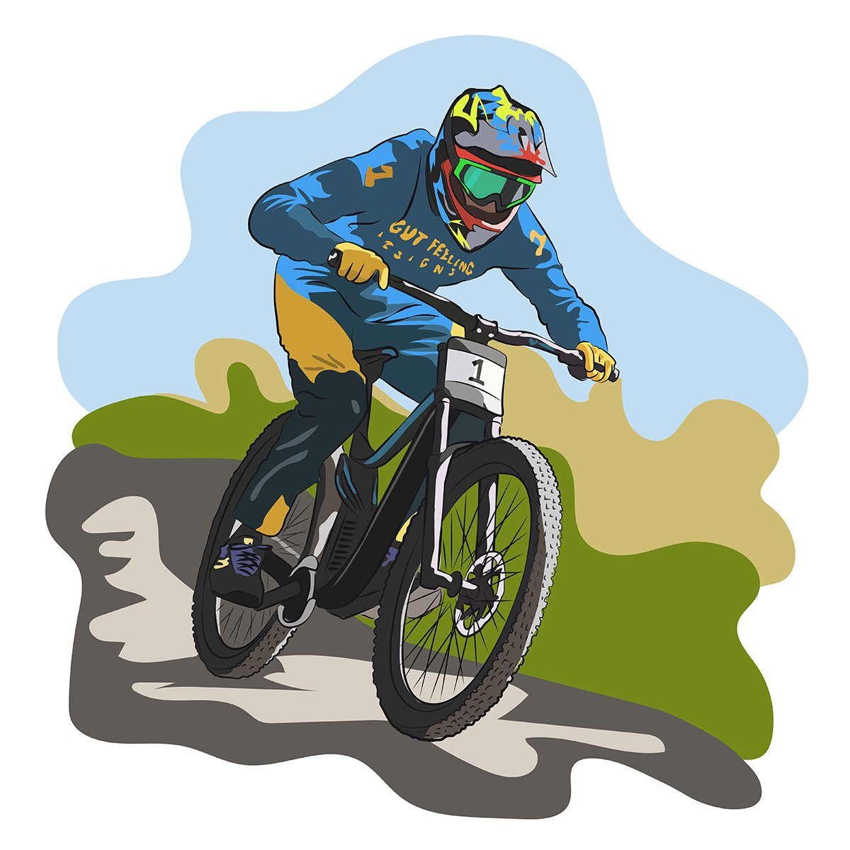 grafica vettoriale - downhill bike