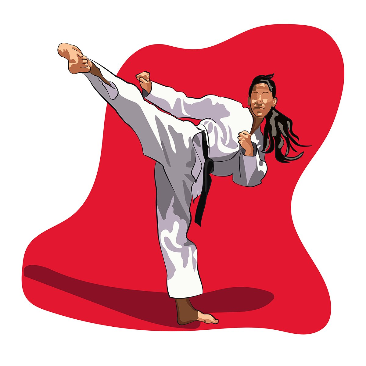 grafica vettoriale - karate girl