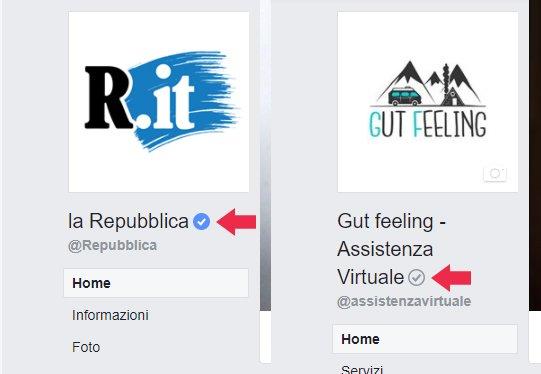 pagina facebook verificata