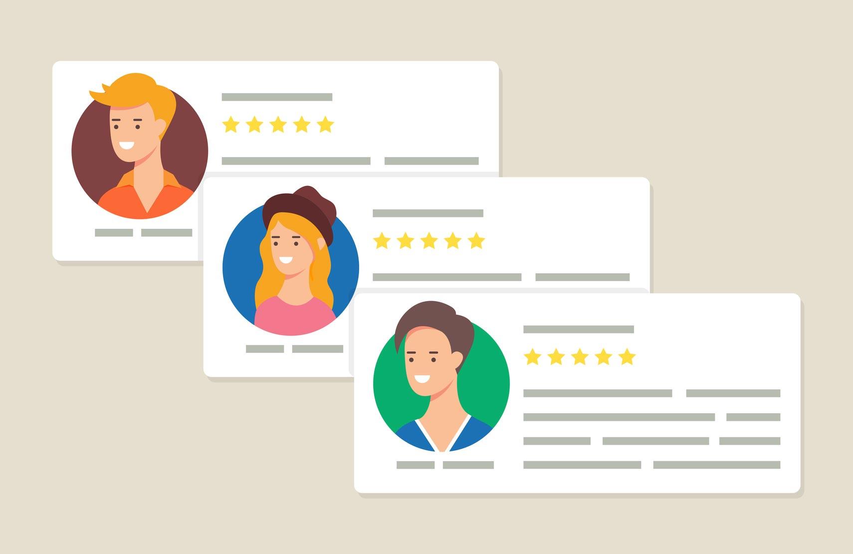 recensioni clienti sito web
