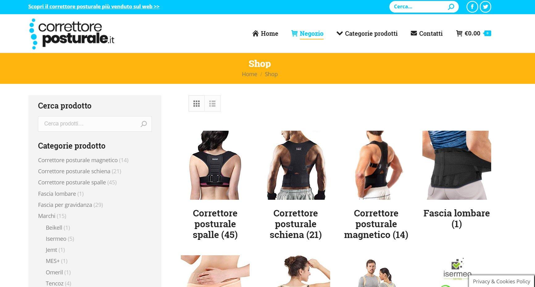 correttore posturale e-commerce